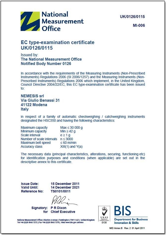 MID certificate for HSC350 checkweighers