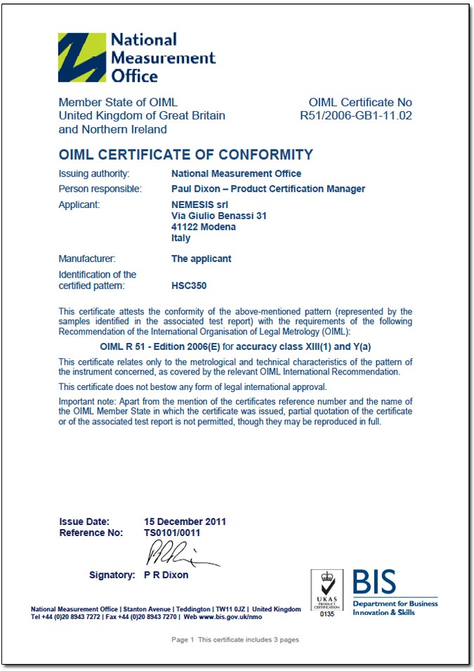 OIML-R51 Certificate for HSC350 checkweighers and weigh-price labelers