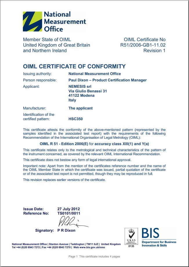 OIML-R51 Certificate for HSC350 checkweighers and weigh-price labelers with touchscreen